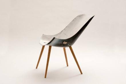 design recyclé : chaise à partir d'une baignoire recyclée
