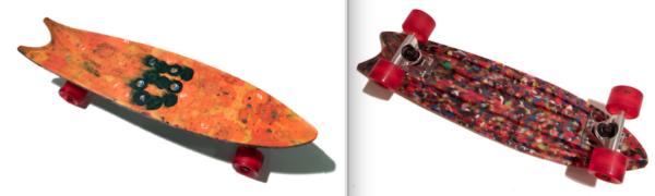 bouchons de bouteilles en plastique recyclés en skateboard
