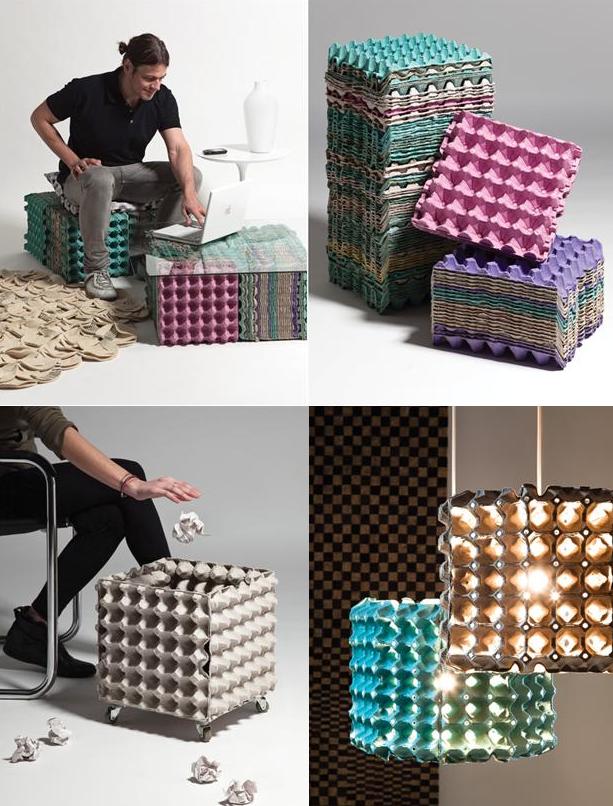 Beautiful Meubles créés à partir de cartons d'oeufs recyclés - design-recyclers RM78