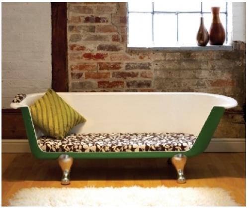 un canap fabriqu partir d 39 une baignoire recycl e. Black Bedroom Furniture Sets. Home Design Ideas